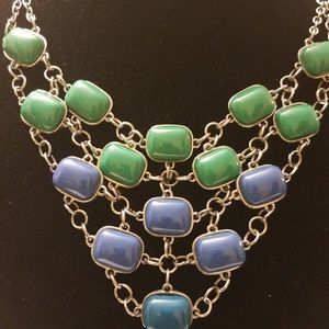 Jewelry - Green, Blue & Silver Bib Necklace